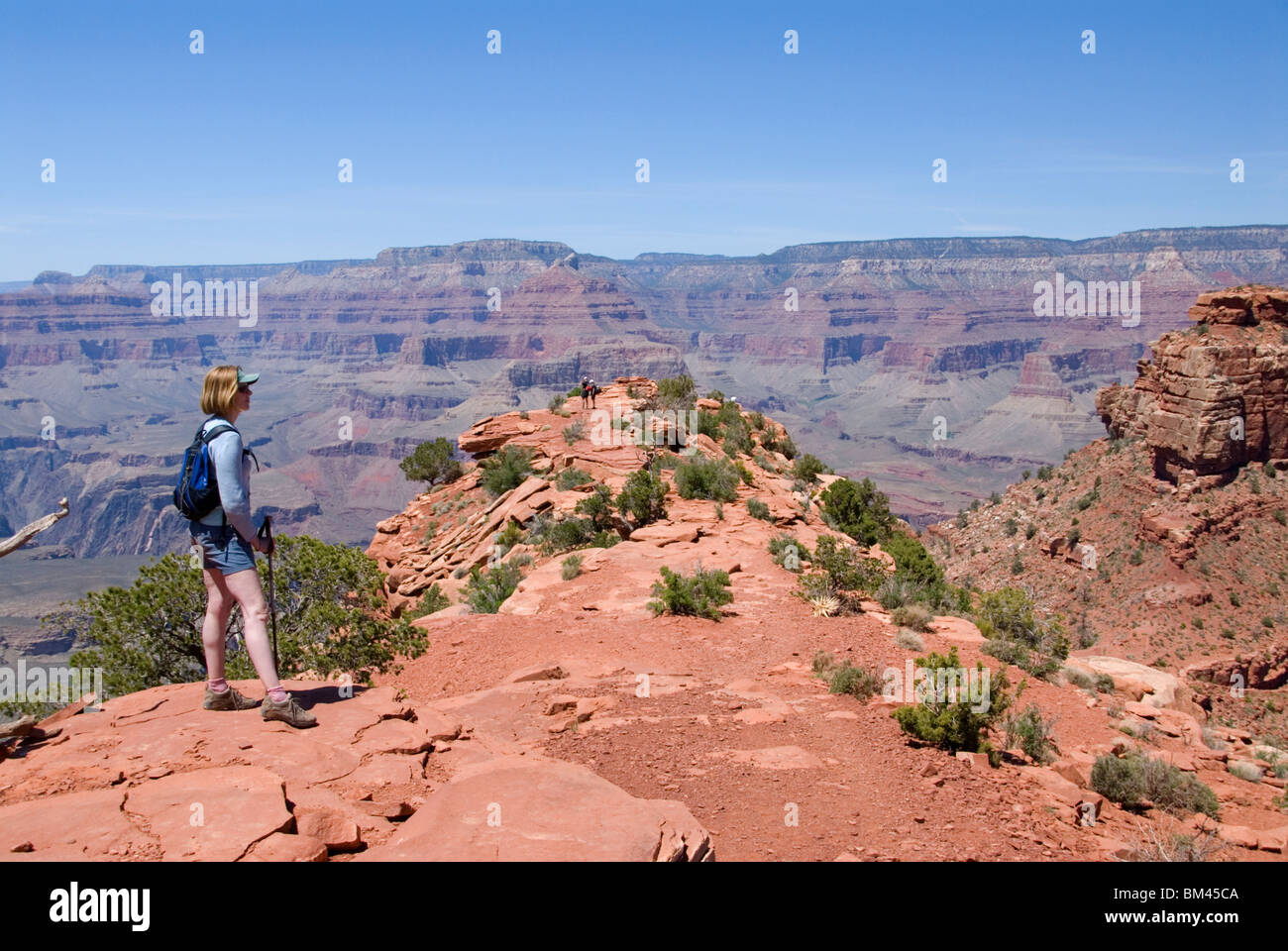 Female hiker at Cedar Ridge on the South Kaibab Trail south rim Grand Canyon National Park Arizona USA Kimberly - Stock Image