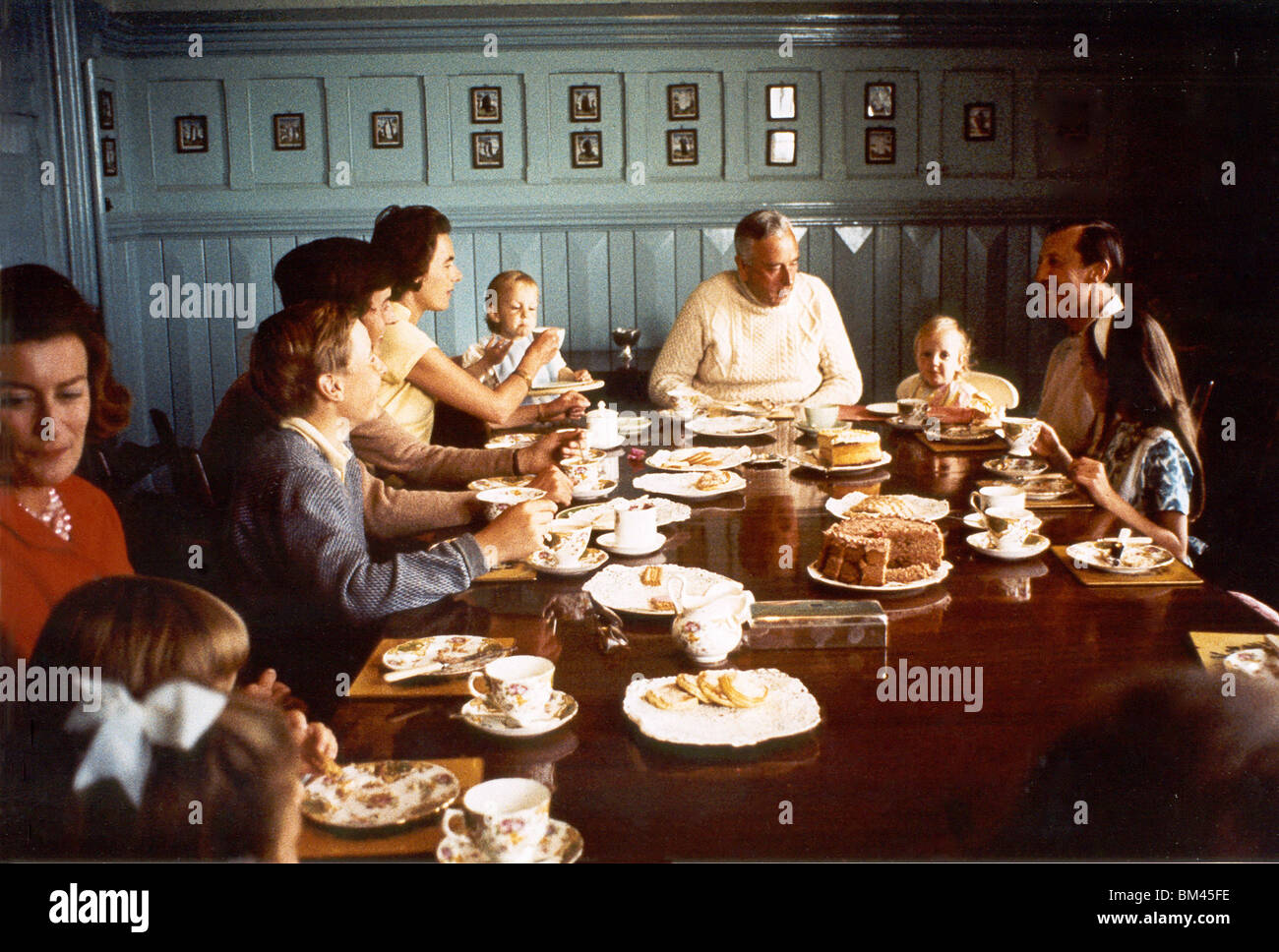 Lord Mountbatten and family taking tea at Classiebawn Castle - Stock Image