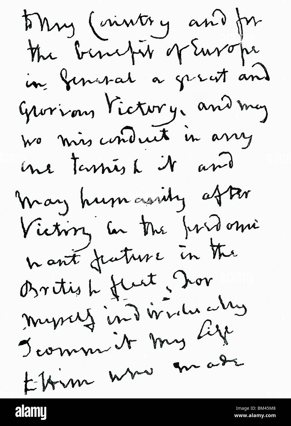 Part of letter written by Admiral Horatio Nelson just before the Battle of Trafalgar. - Stock Image