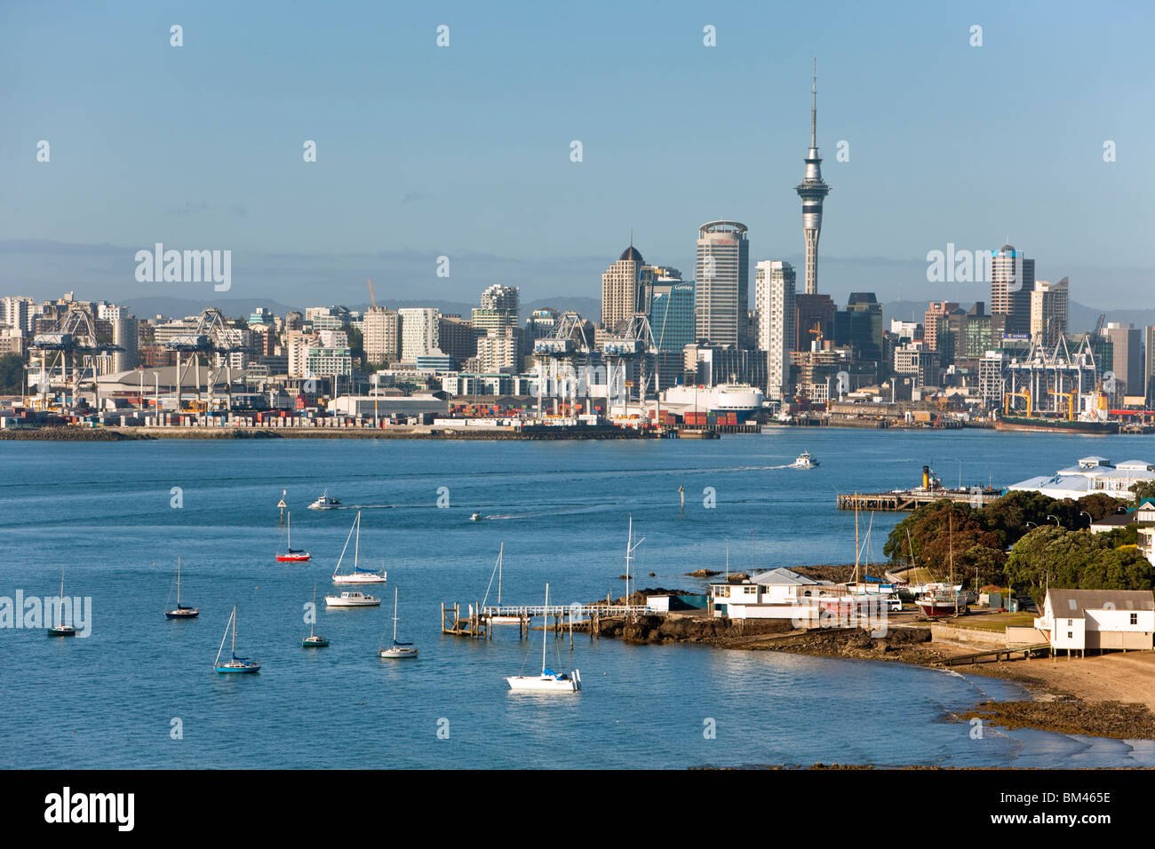 View from North Head to the harbour and city skyline. Devonport, Auckland, North Island, New Zealand Stock Photo