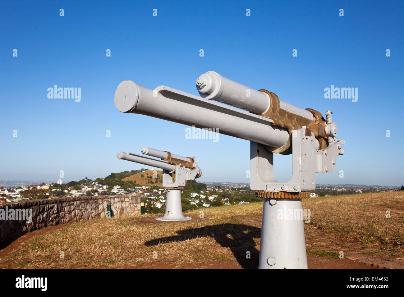 Gun embankment at North Head. Devonport, Auckland, North Island, New Zealand - Stock Image