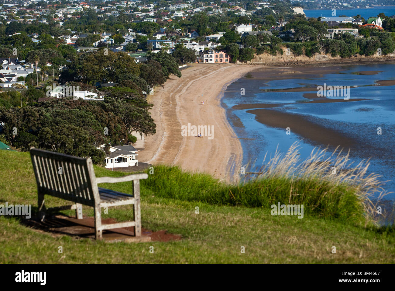 View overlooking Cheltenham Beach at North Head. Devonport, Auckland, North Island, New Zealand - Stock Image