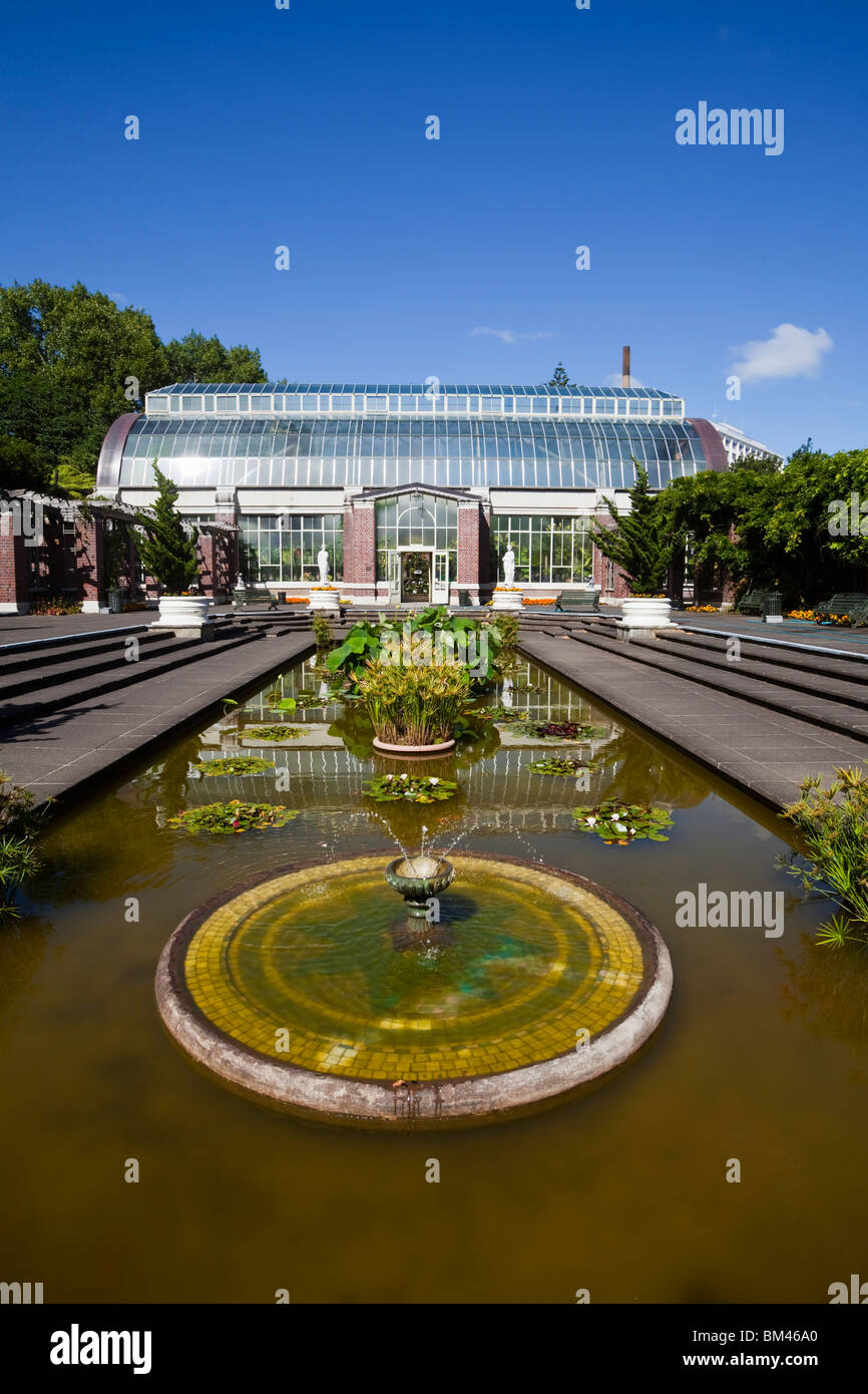 Wintergarden courtyard and glasshouse in The Domain. Auckland, North Island, New Zealand - Stock Image
