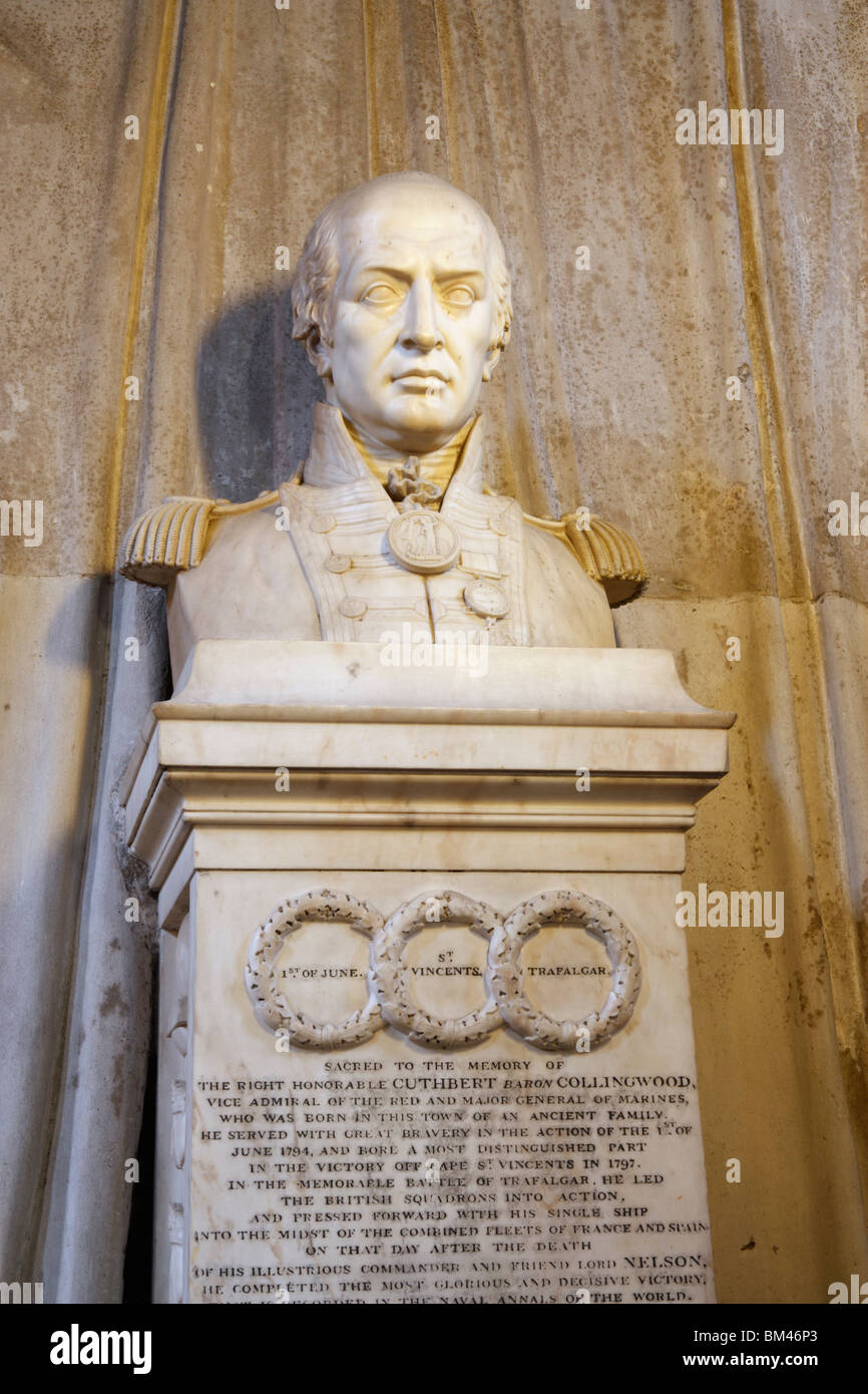 Bust of Admiral Lord Collingwood of Hethpool and Coldburn in St Nicholas cathedral in Newcastle upon Tyne, England, Stock Photo
