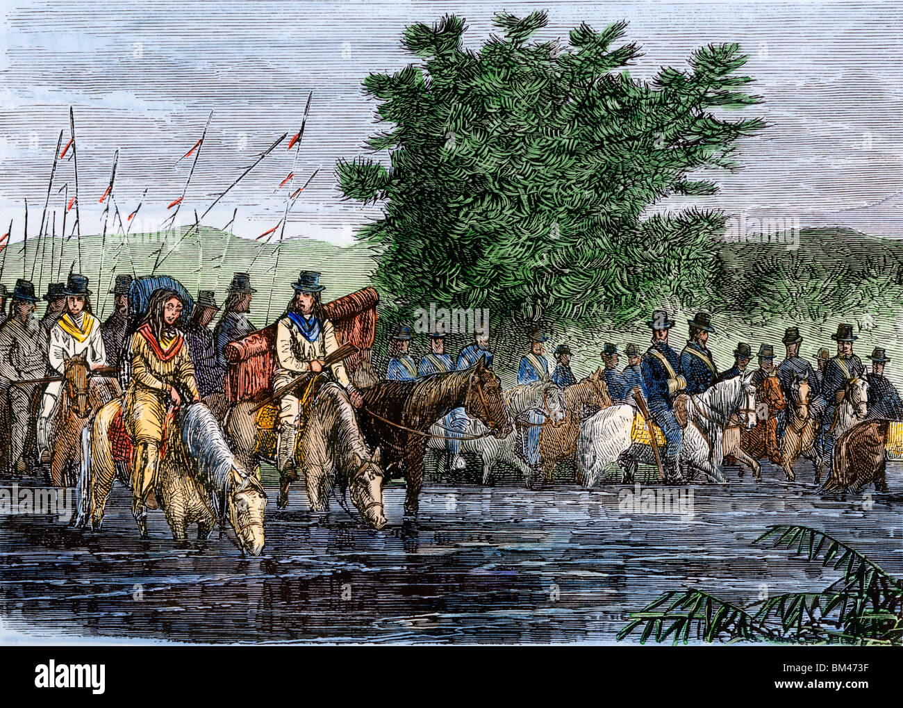 General Crook's army with Indian scouts before the Battle of Rosebud Creek, Sioux wars, 1876. Hand-colored woodcut - Stock Image
