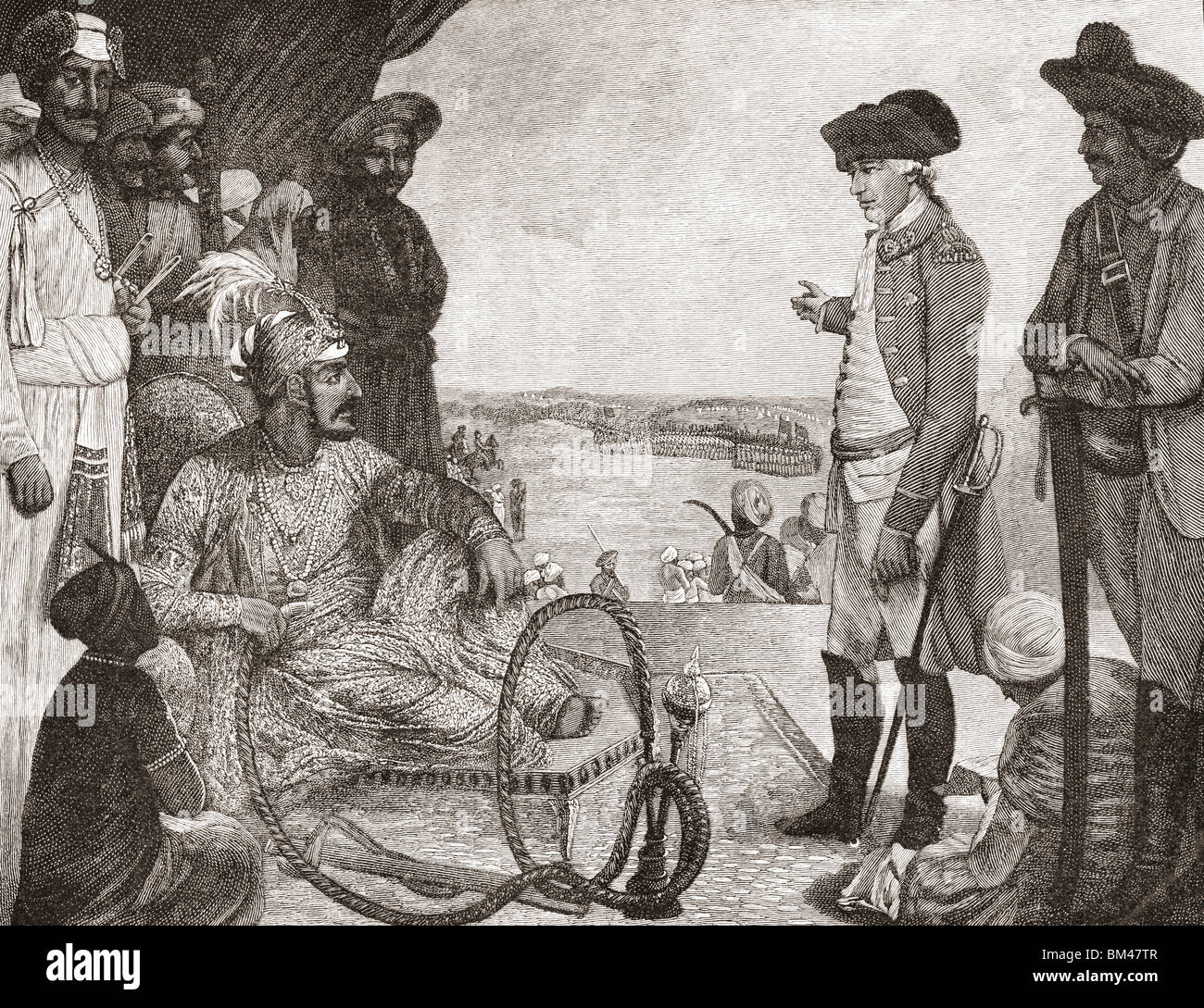 Shah Allum, Mogul of Hindustan, reviewing troops of The British East India company, c.1781. - Stock Image