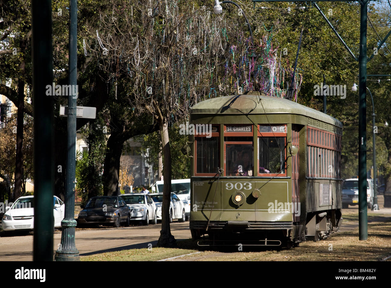 St Charles Avenue streetcar Garden District New Orleans, Louisiana - Stock Image