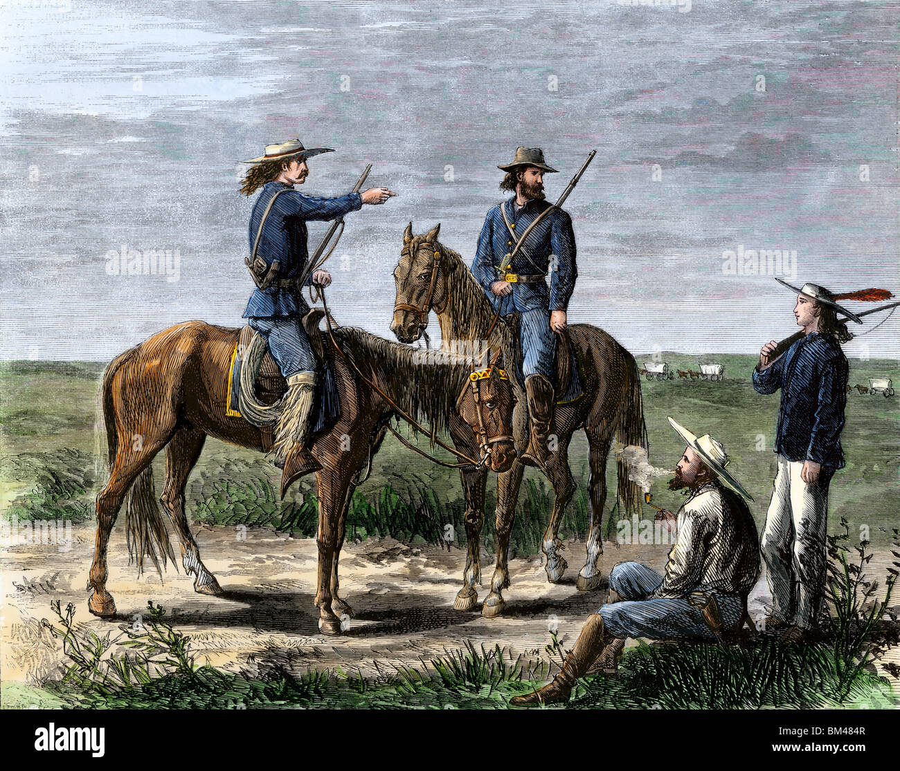 General Custer's scouts during the Native American uprisings on the Great Plains, 1860s. Hand-colored woodcut - Stock Image