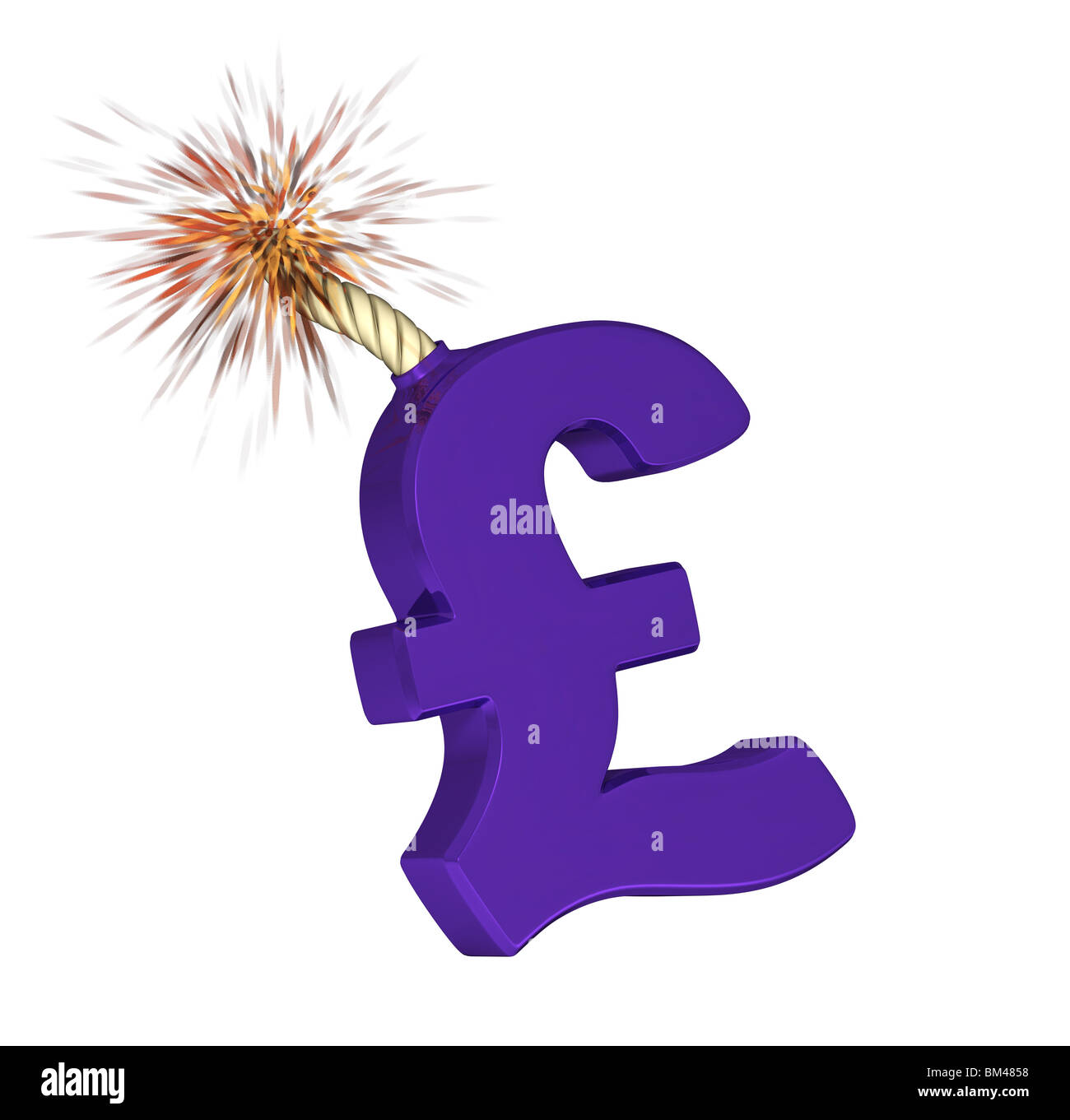 It's a Pound symbol that will explode, a picture for the market financial risk. - Stock Image