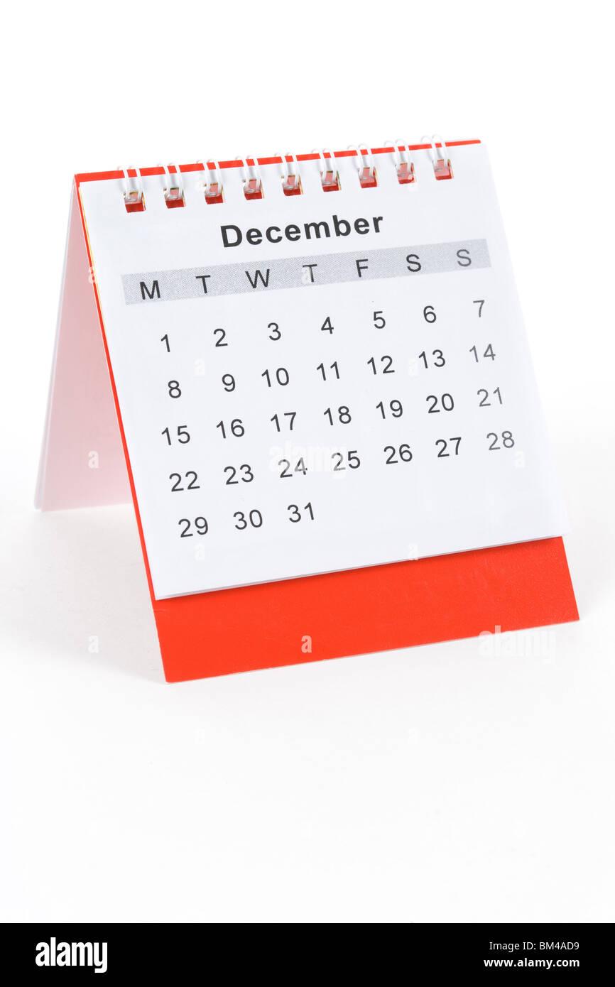 Calendar December close up shot - Stock Image