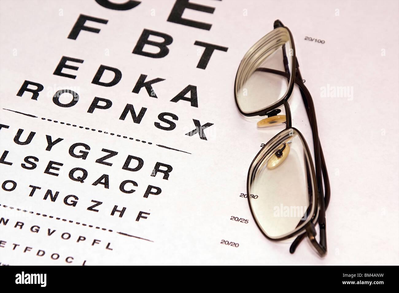 prescription eyeglasses are resting on an eye chart Stock Photo