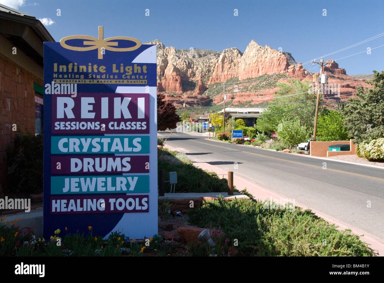 Infinite Light Healing Centre Reiki Crystals Jewelery sign in city of Sedona Arizona USA - Stock Image