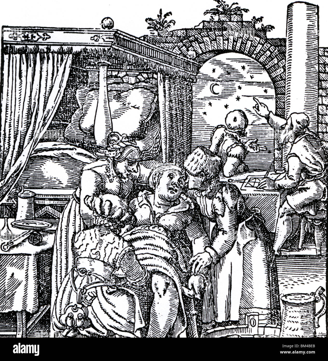 ASTROLOGY - 16th century woodcut showing Astrologers casting a birth chart for the child being born in the foreground - Stock Image