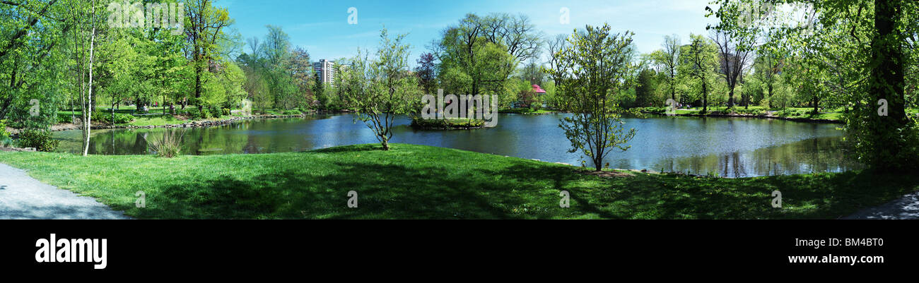 Panorama of the pond in the Public Gardens, Halifax, Nova Scotia - Stock Image
