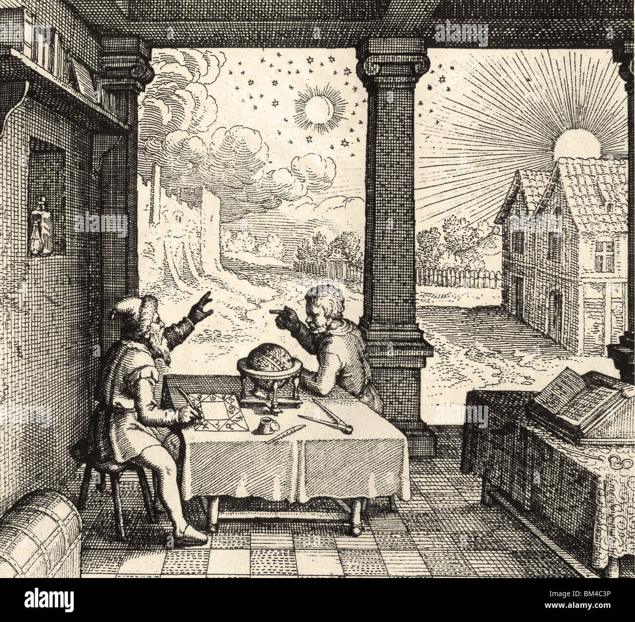 ASTROLOGY - preparing a horoscope from Robert Fludd's Ultriusque cosmi..historia published between 1617 and - Stock Image