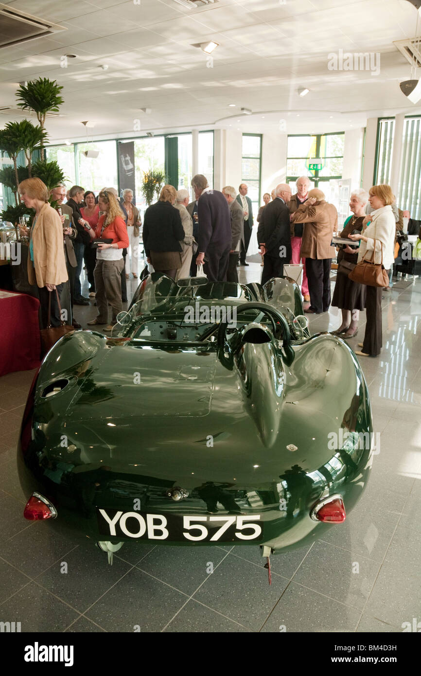 Famous vintage Lister Jaguar sports car exhibited in the Jaguar dealership, Marshalls Cambridge UK - Stock Image