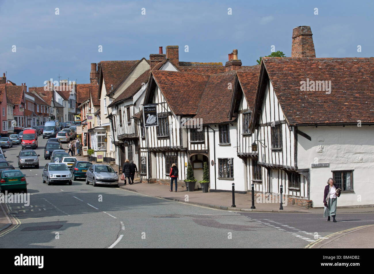 The Swan hotel and high street, Lavenham, Suffolk, UK. Stock Photo