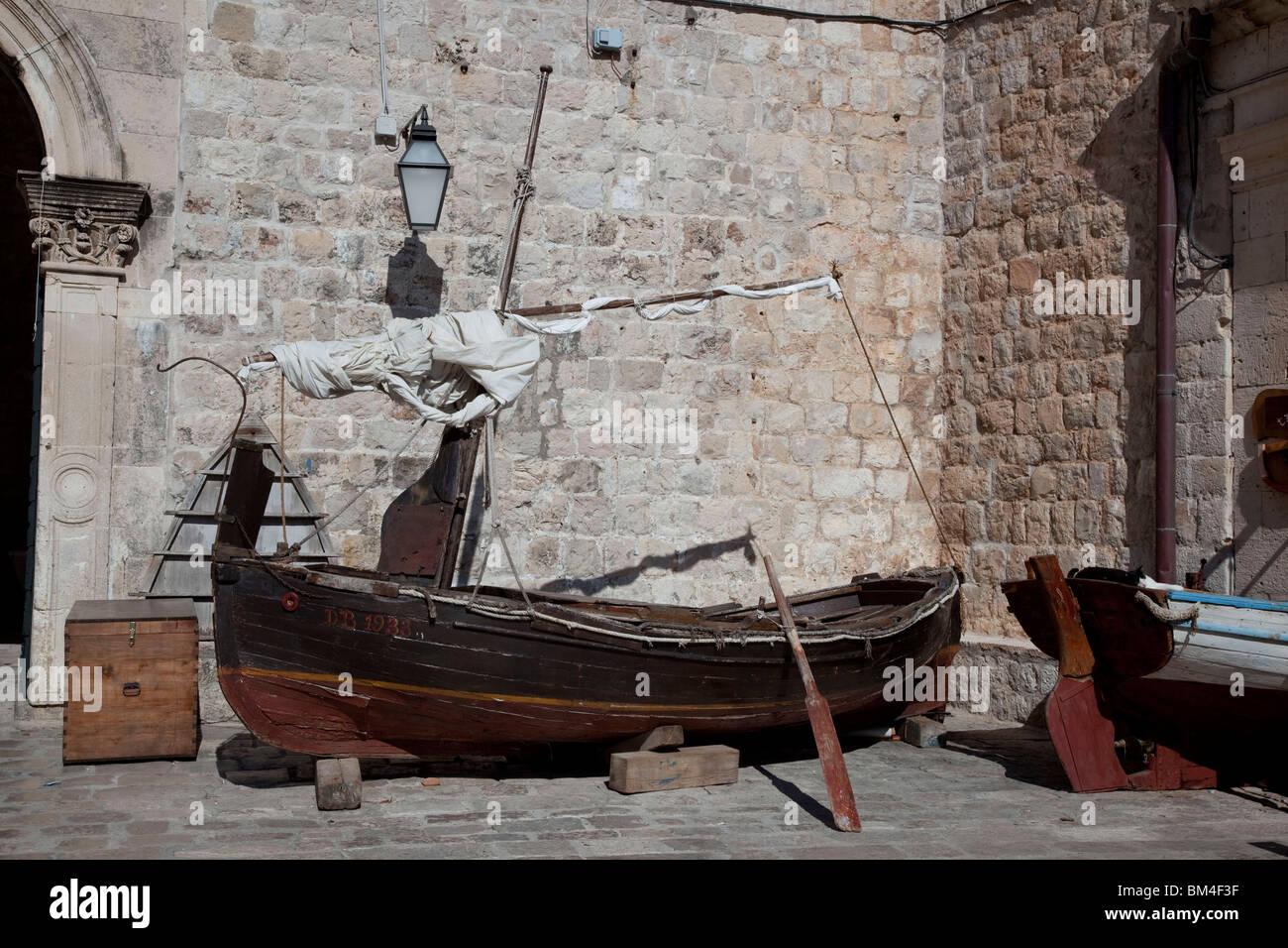 Old boat, harbourside, Dubrovnik, Croatia - Stock Image
