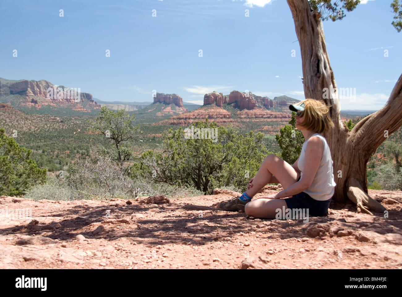 Woman looking at view outside Sedona Arizona USA North America a healing and spiritual center for vortexes and psychics - Stock Image