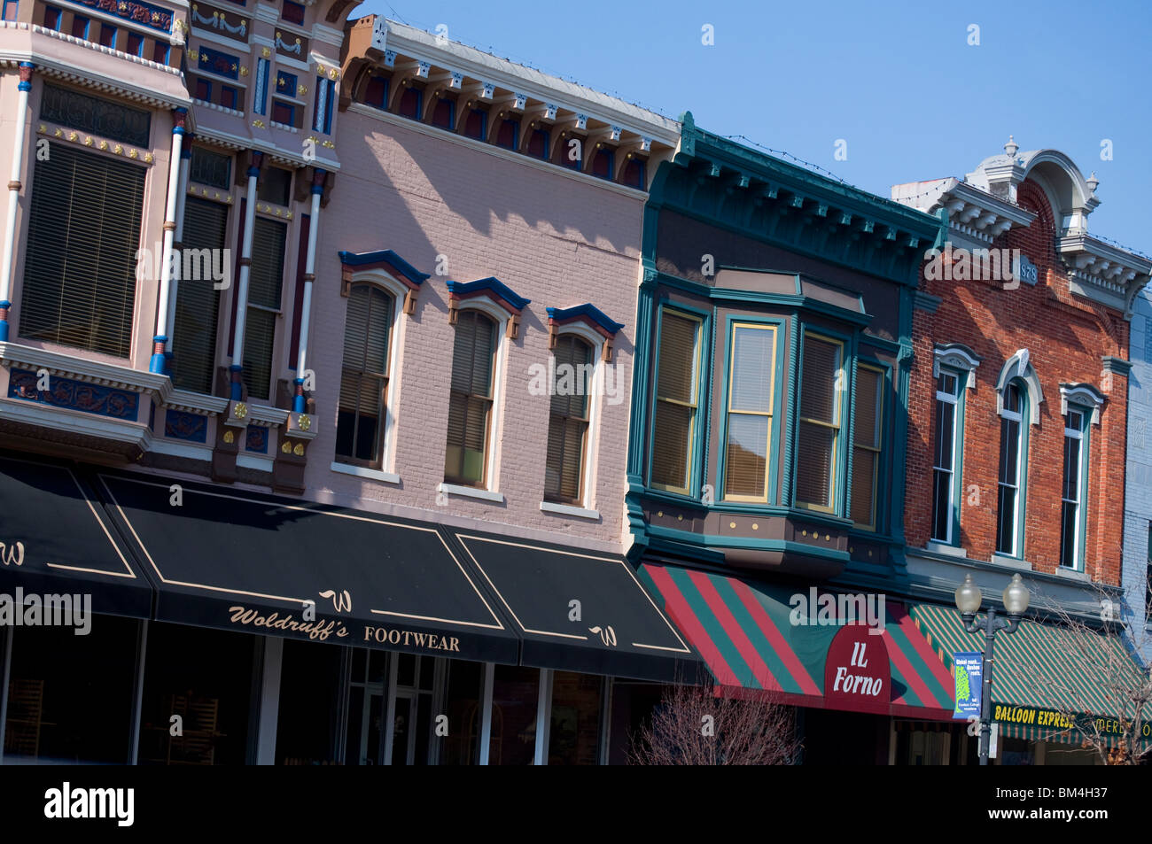 Shops in the historic buildings of downtown Goshen, Indiana. - Stock Image