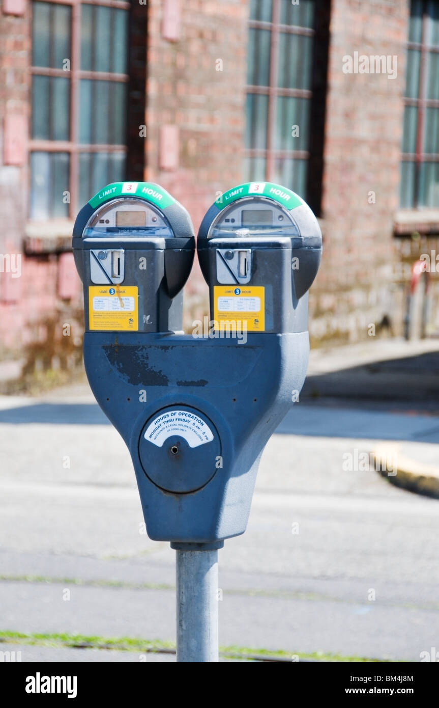 Parking meter in downtown Olympia, Washington. - Stock Image