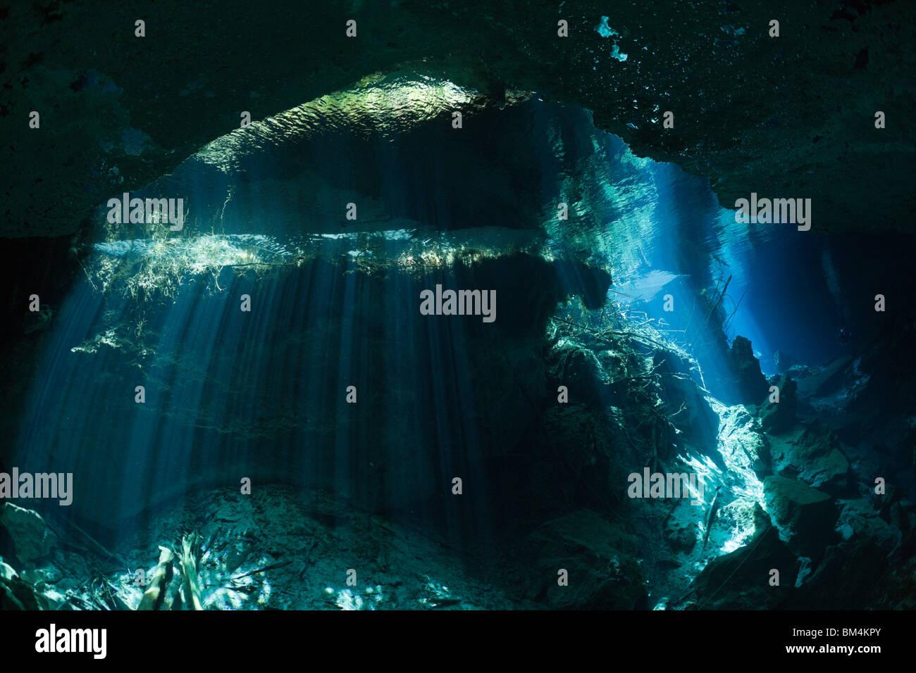 Entrance of Chac Mool Cenote, Playa del Carmen, Yucatan Peninsula, Mexico - Stock Image