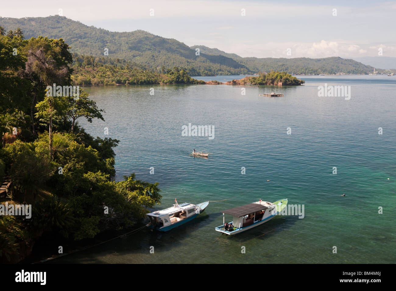 View of Lembeh Strait Resort, North Sulawesi, Indonesia Stock Photo
