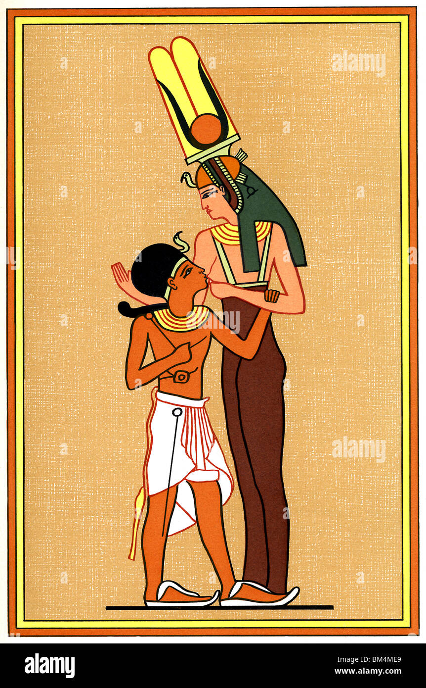 In this Egyptian wall painting, Isis, the Mother Goddess (right ...
