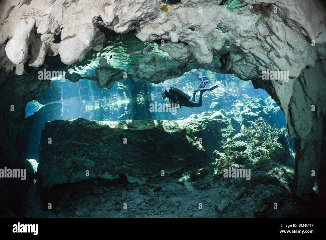 Scuba Diver in Gran Cenote, Tulum, Yucatan Peninsula, Mexico - Stock Image