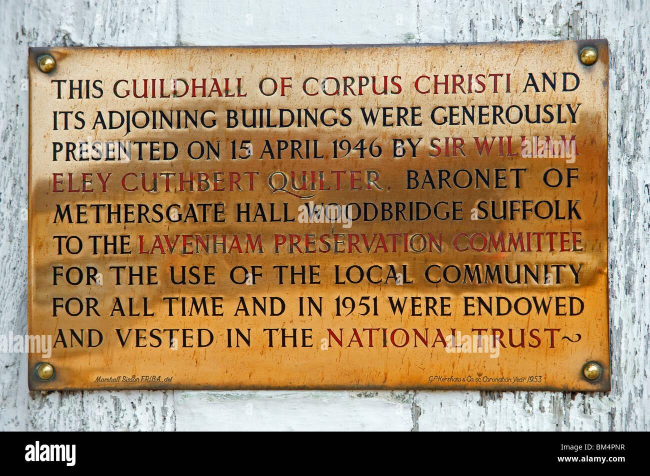 Information plate, Guildhall, Lavenham, Suffolk, England. Stock Photo