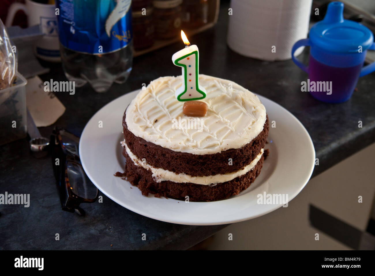Chocolate Birthday Cake With A Number 1 Candle