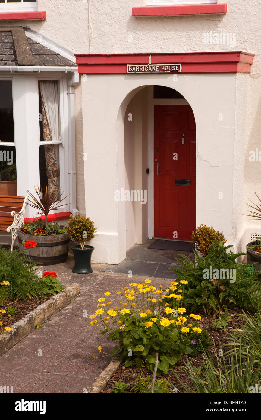 UK, England, Devon, Woolacombe, Mortehoe, Barricane House front garden in late spring - Stock Image
