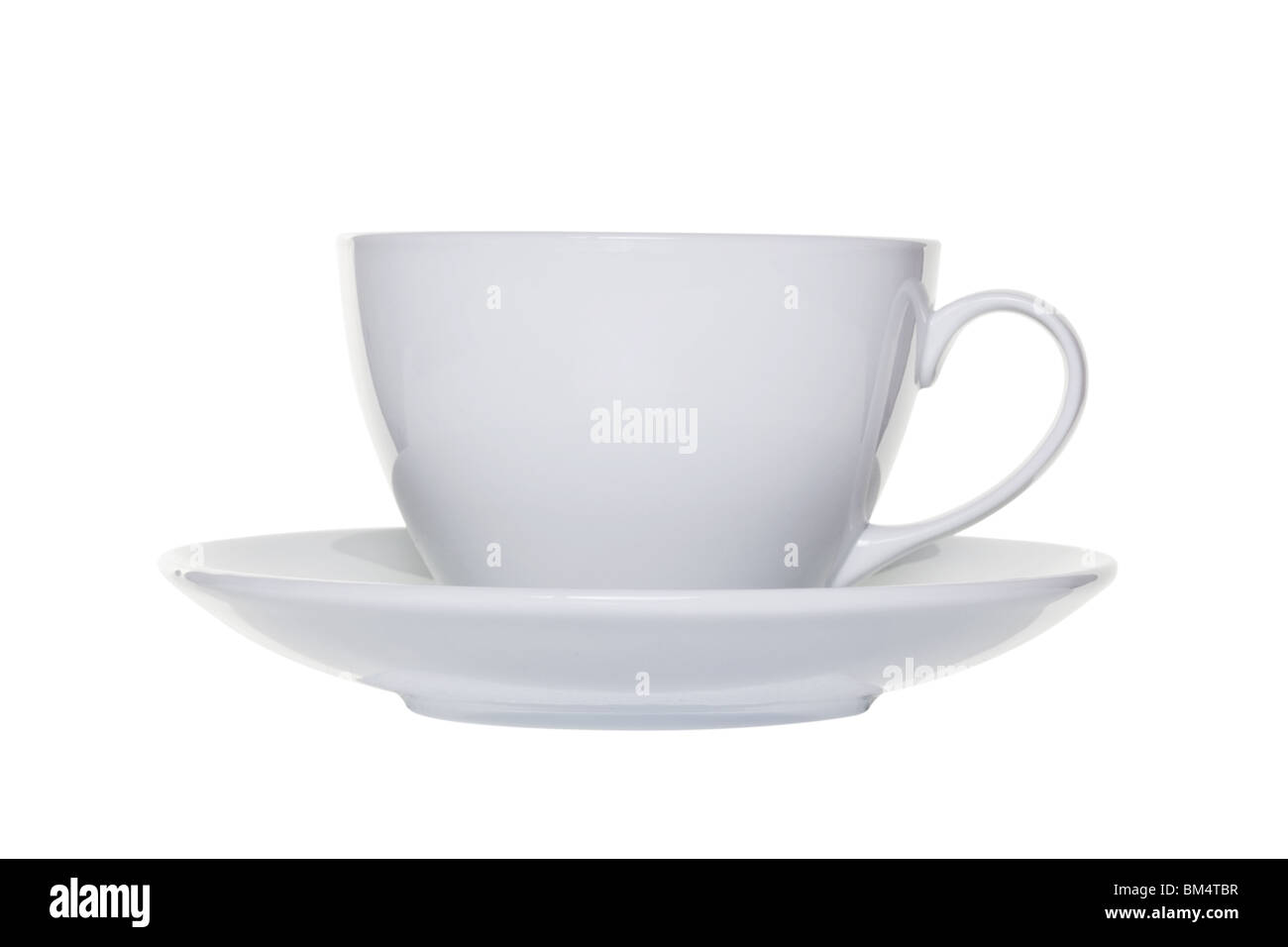 White tea cup and saucer isolated on a white background with clipping path - Stock Image