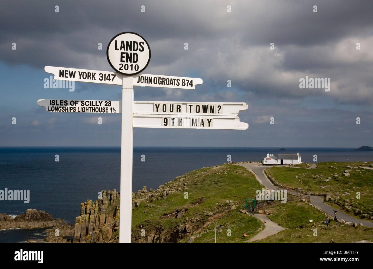 Sign post at Land's End Cornwall Stock Photo