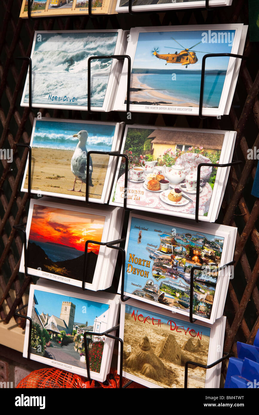 UK, England, Devon, Woolacombe, Mortehoe, Village Stores, local postcards for sale - Stock Image