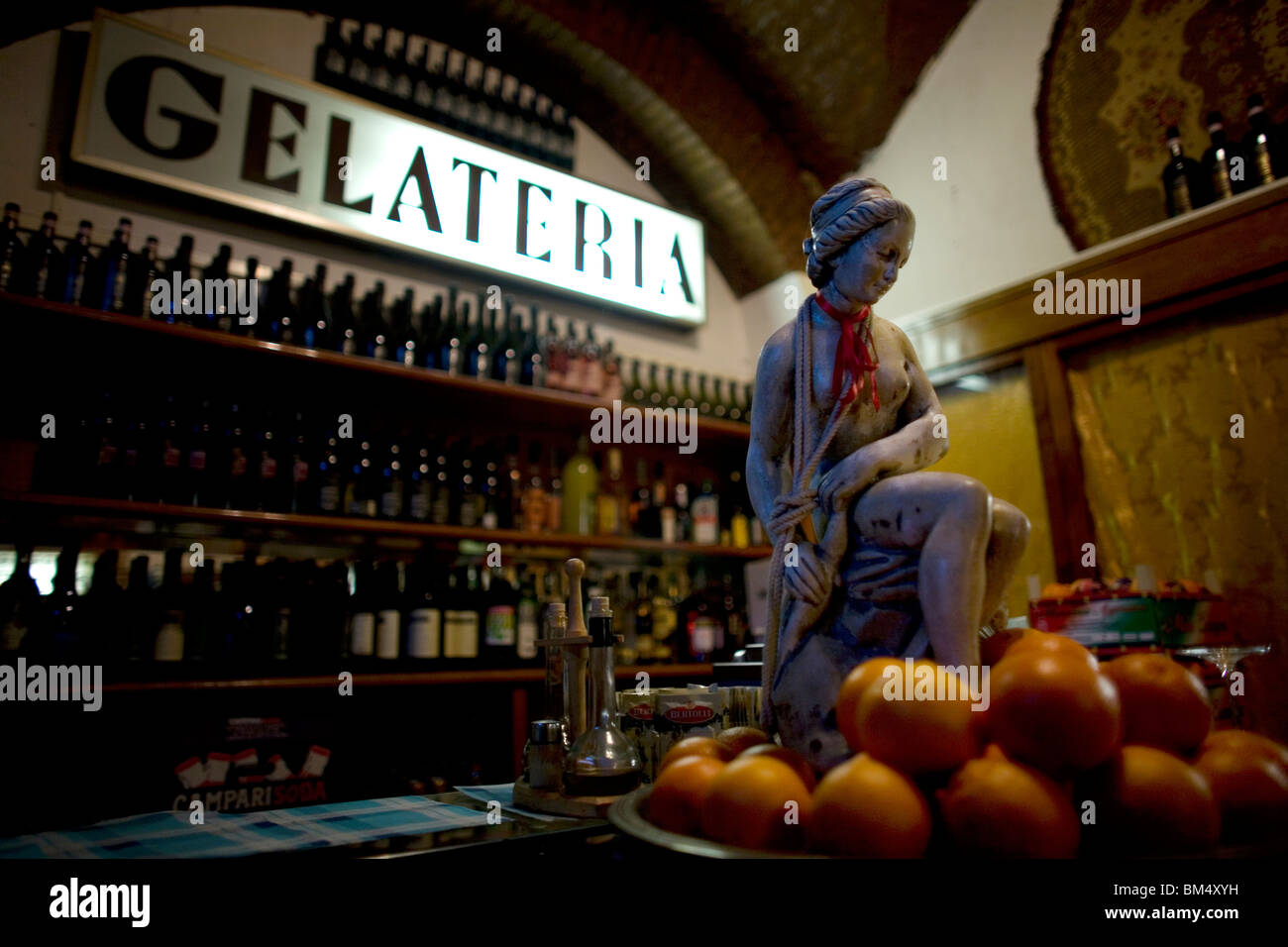 A Gelateria, or ice cream shop, in Rome's touristic Trastever neighborhood, March 9, 2008. Photo/Chico Sanchez Stock Photo