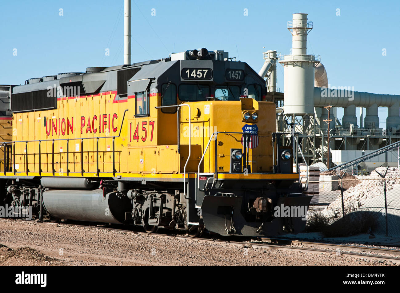 locomotive engines parked on a rail siding - Stock Image
