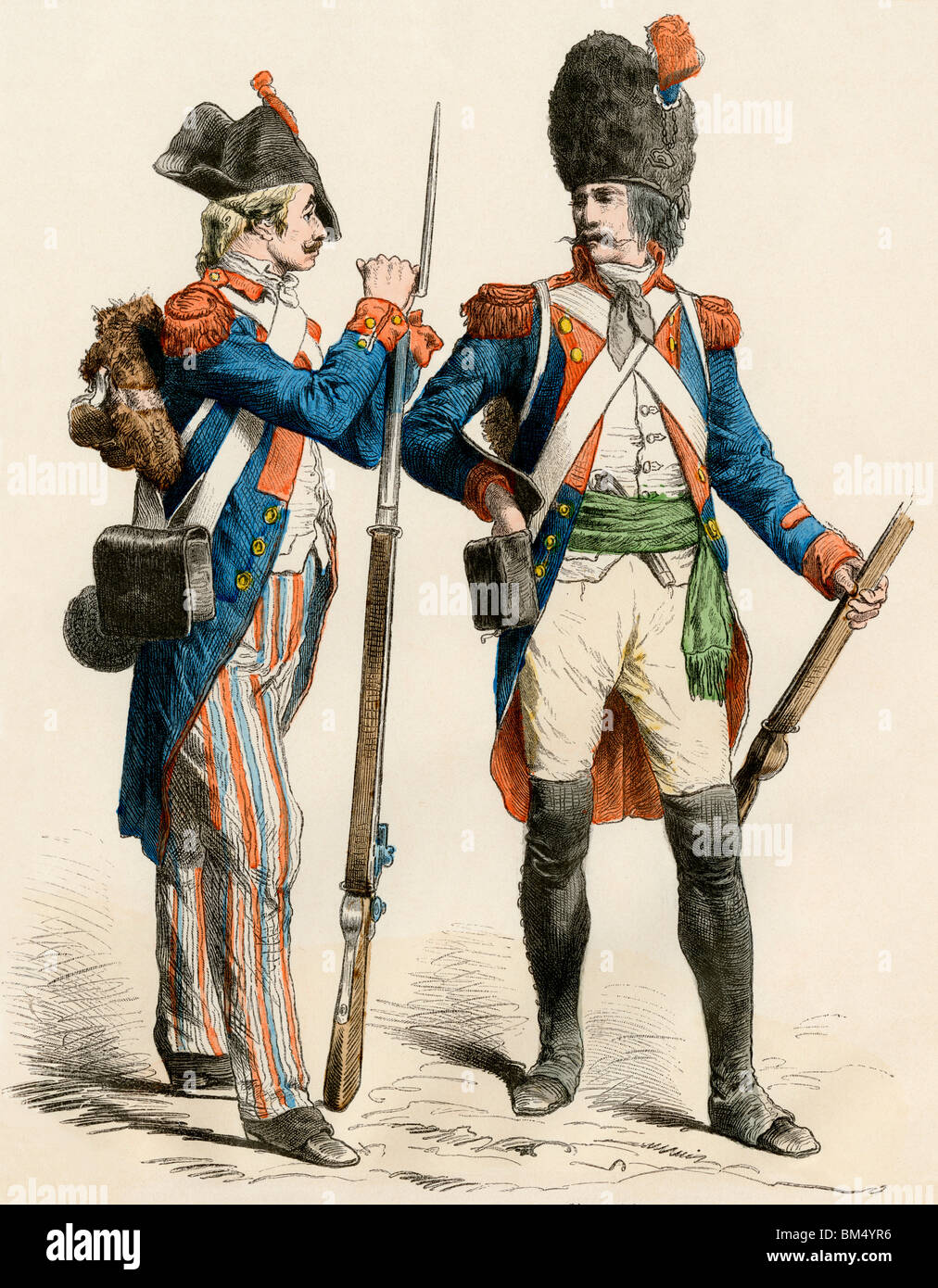 French infantry soldier of 1799 and a grenadier of 1795. Hand-colored print - Stock Image