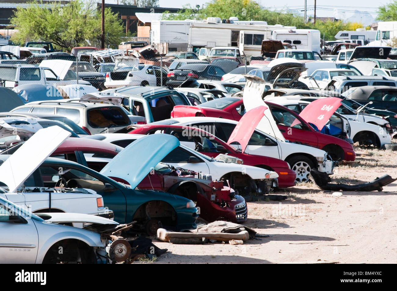 cars in a salvage yard being used to recycle parts - Stock Image
