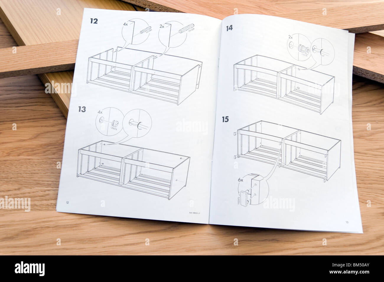 Self Assembly Instructions For Ikea Flat Pack Furniture   Stock Image