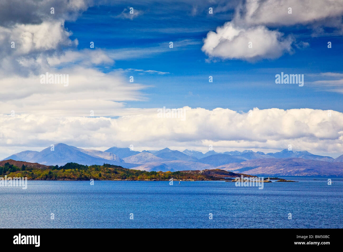 Plocton & the Cuillins, Loch Carron, Wester Ross Scotland West coast Highlands Great Britain UK 2010 - Stock Image
