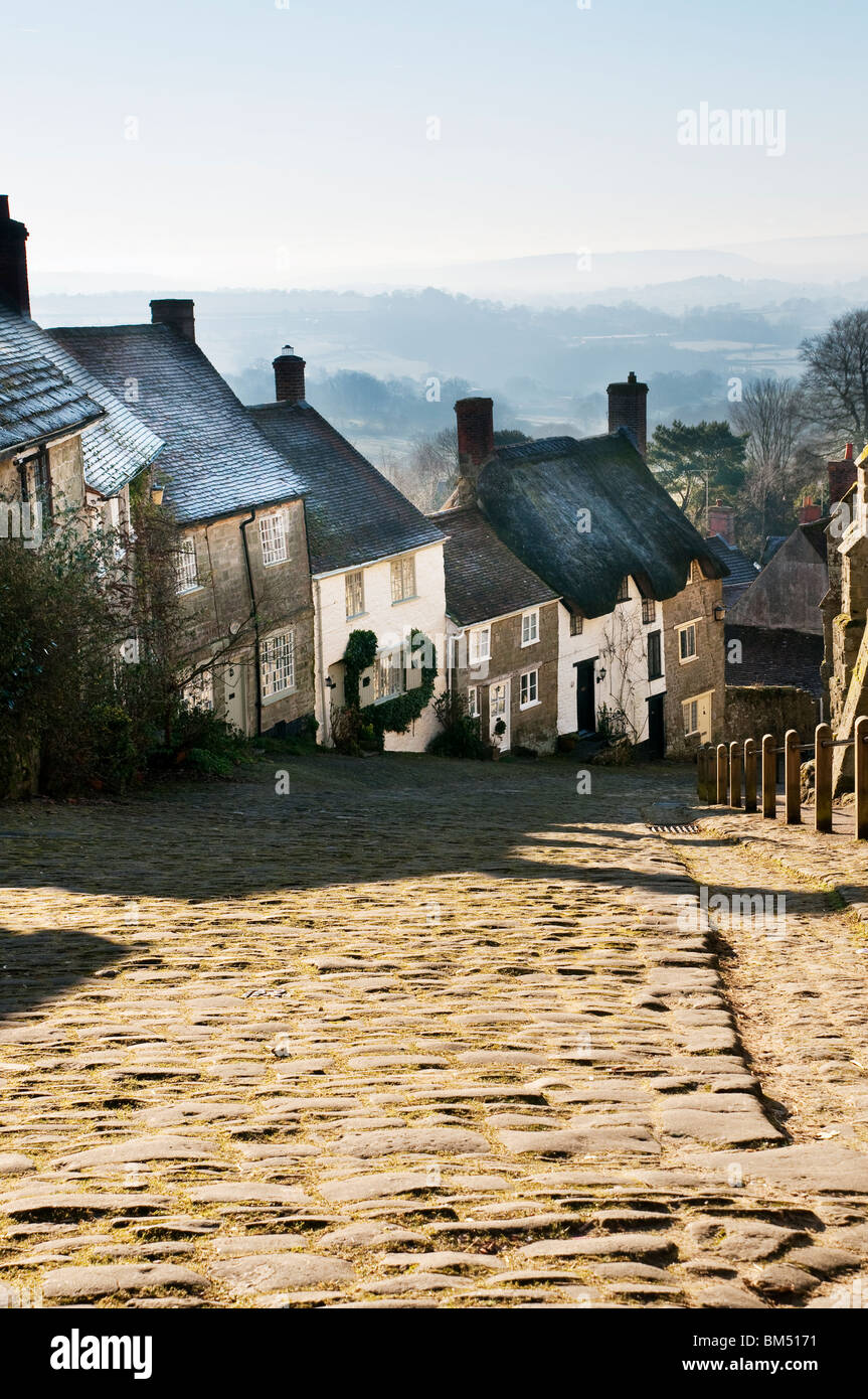 Gold Hill Shaftesbury Dorset taken in late winter - Stock Image