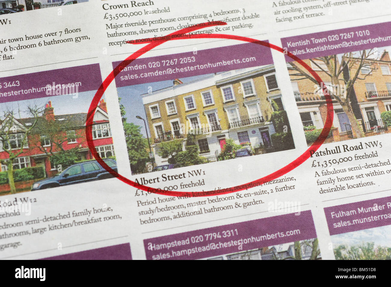 Houses for sale ads circled in newspaper london england for Ad house