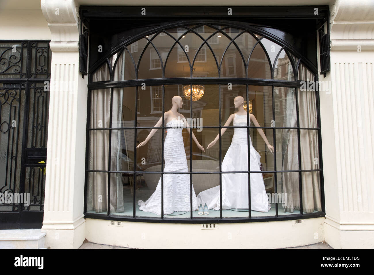 Bridal wear shop window, London, England, UK - Stock Image