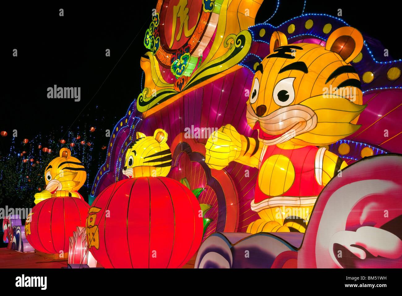 Singapore, Chinese New Year, Illuminated display, Year of the Tiger. - Stock Image