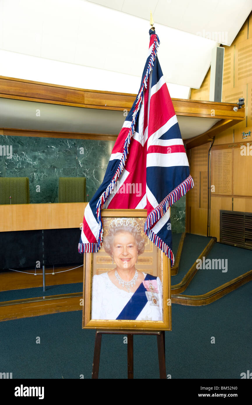 Portrait of Queen Elizabeth II and Union Jack used in British Citizenship Ceremony at Haringey Town Hall, London, - Stock Image