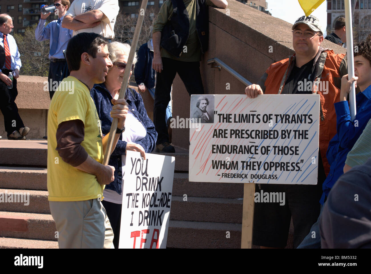 Teaparty activist gather to demonstrate for freedom from government intrusions in health care and more. - Stock Image