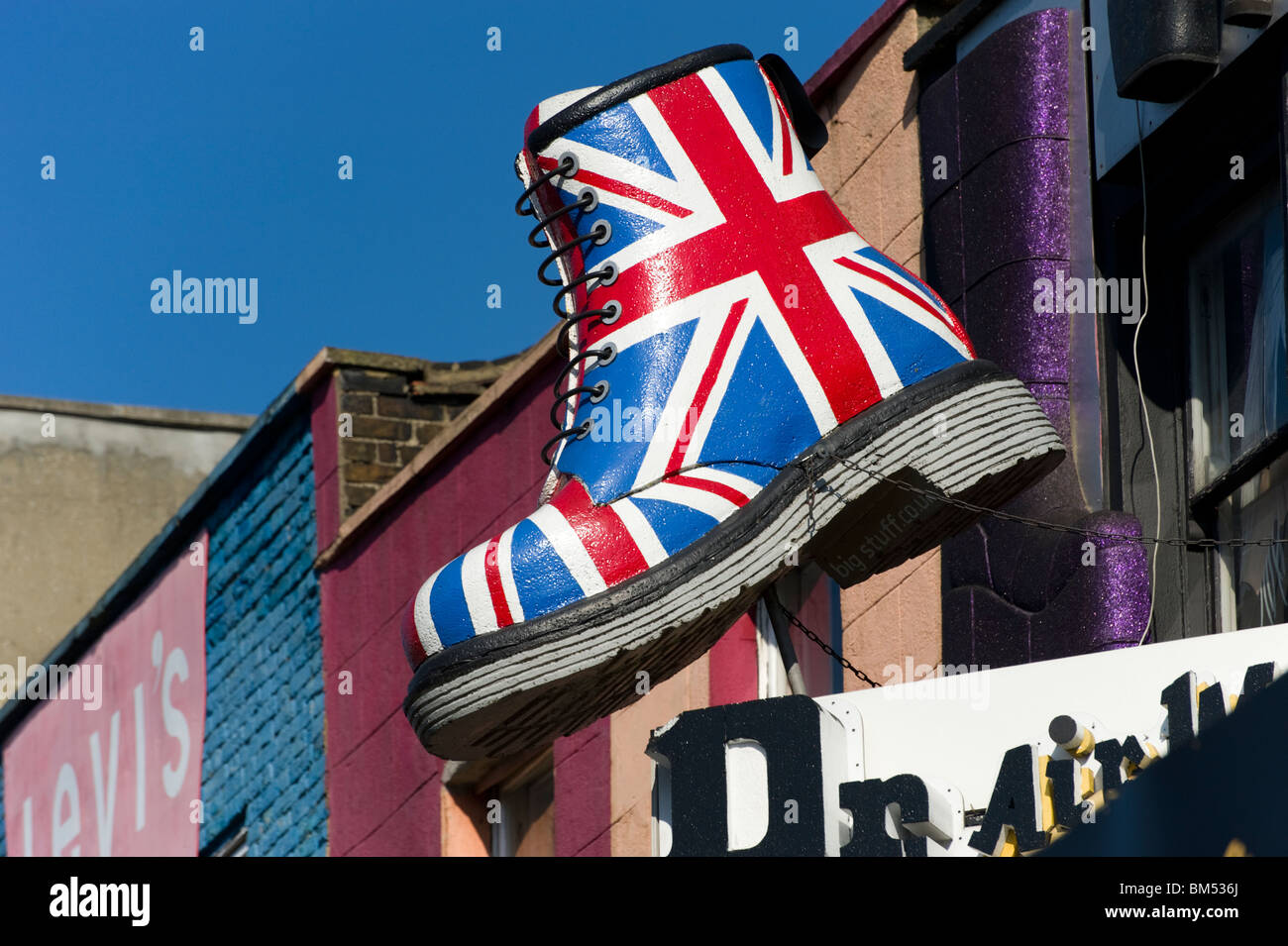 0f967b612d7 Union Jack Dr Martens boot, Camden, London, England, UK Stock Photo ...