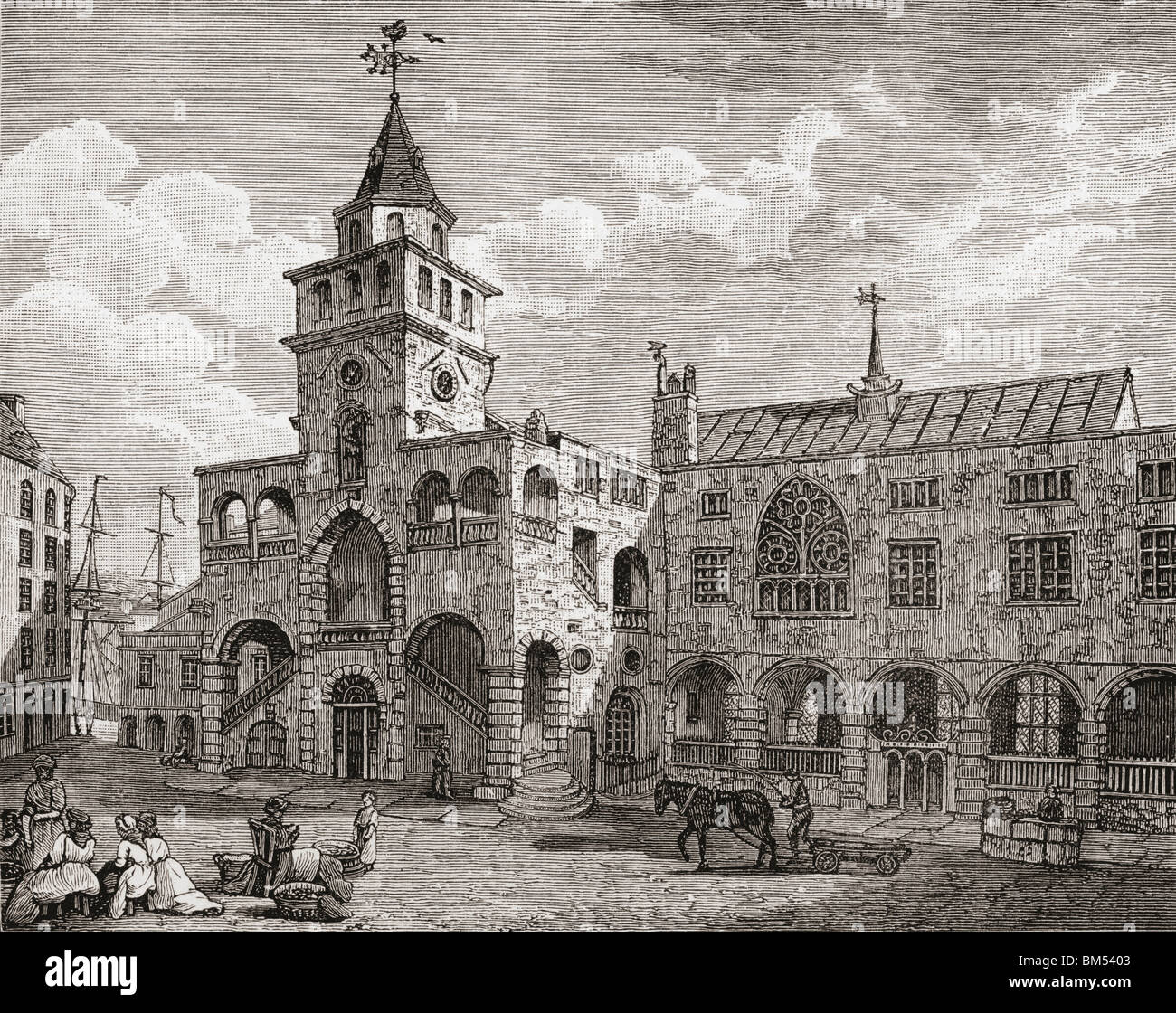 The Exchange, Newcastle-on-Tyne, England in the 17th century. - Stock Image