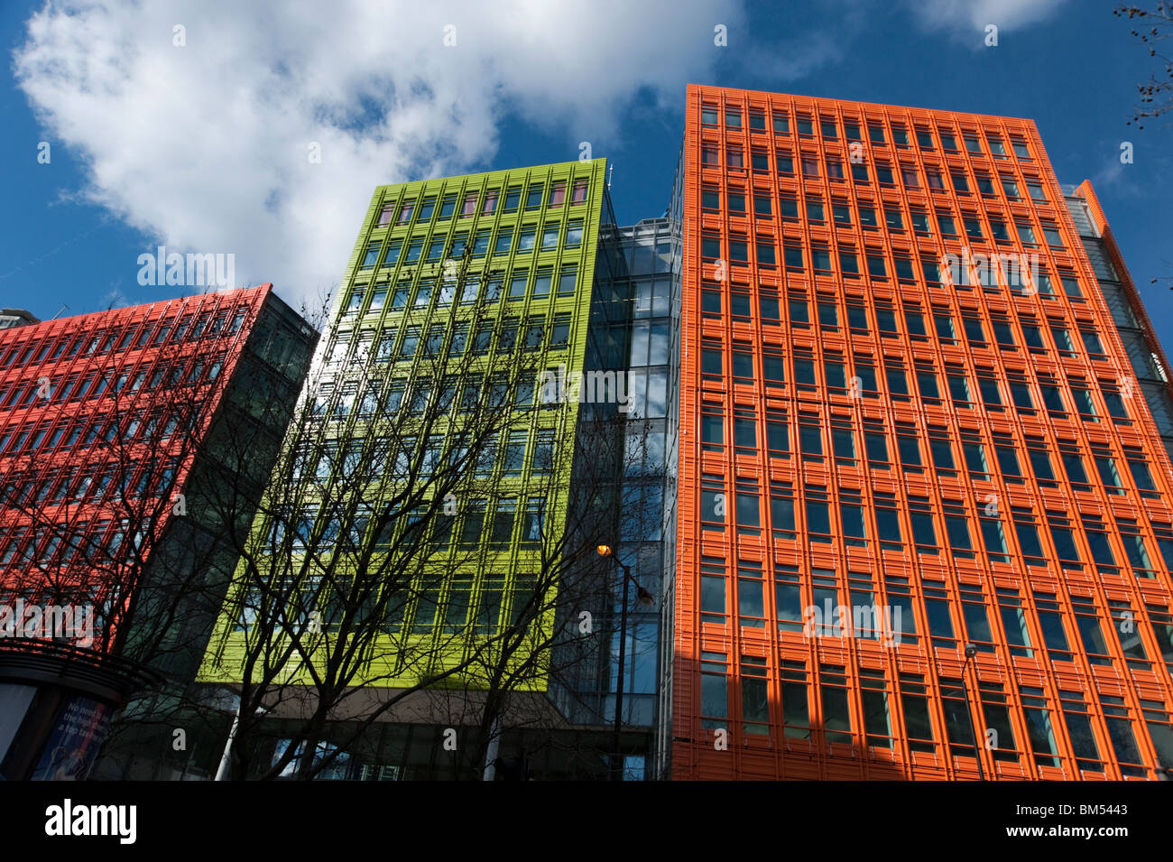 Modern architecture by Renzo Piano at Central Saint Giles, London, England, UK - Stock Image